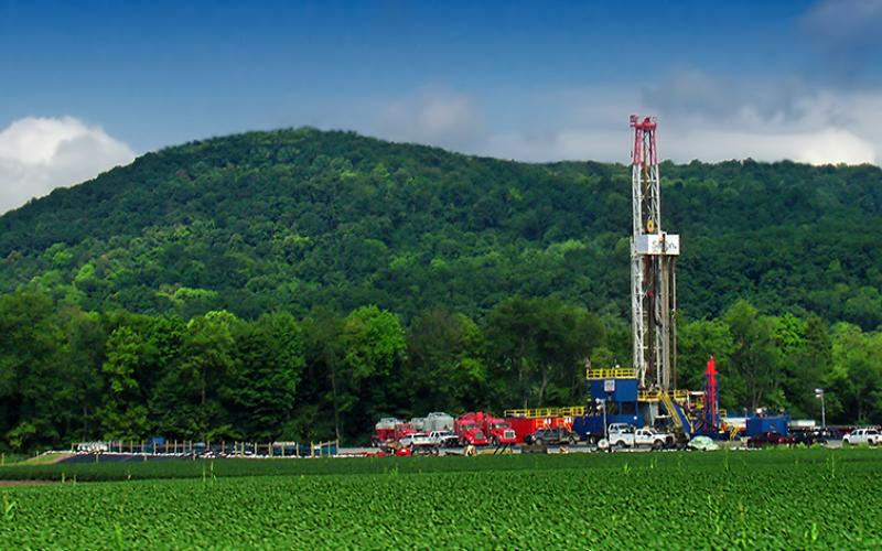 A fracking drilling rig in Pennsylvania.